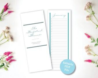 Printable Calendar - Tall, Whimsical Perpetual Calendar - Editable PDF Colorful Eternal Birthday, Anniversary Calendar - Instant Download
