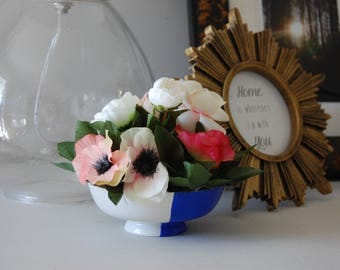Pink and White Floral Arrangement in Hand Painted Cobalt Blue and White Ceramic Bowl