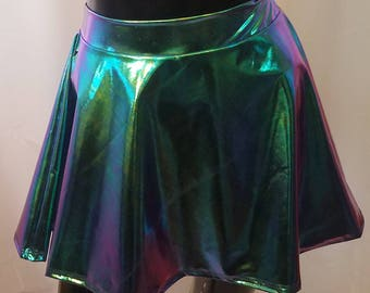 Custom made A line circle skirt in vinyl or printed spandex