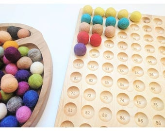 Hundred board - hundred frame - counting board - math for kids - montessori toy - stem toy - manipulative - Waldorf toy - math toy