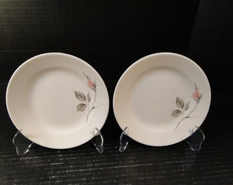 "TWO Knowles Dawn Rose Designed by Kalla Bread Plates 6 1/2"" Set of 2 EXCELLENT!"