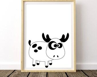 Moose Nursery Decor, Moose Nursery Wall Art, Moose Nursery Art, Moose Nursery Print, Moose Digital Print, Moose Printable Art