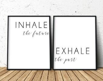Inhale Exhale, Inhale Exhale Art, Inhale Exhale Quote, Inhale Exhale Print, Inhale Exhale Poster, Zen Yoga Poster, Yoga Print Set, Yoga Art