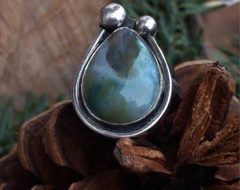 Ocean Jasper Ring, Jasper Ring, Sterling Silver Ring, Mermaid Ring, Size 7.5 Ring