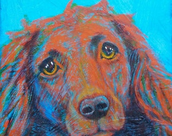 """Your Dog in Color with Texture & Feeling - 8""""x 8"""""""