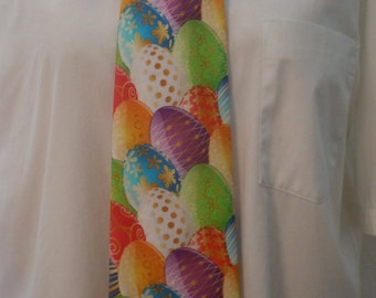 Easter, Eggs, Holiday, Red, Blue, Purple, Novelty Men's Necktie