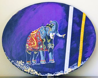 Original painting, Mixed media art, Abstract, Wall hanging, Animal, Elephant, home décor, Purple color