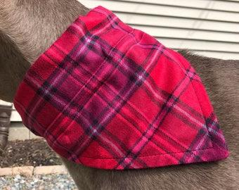 Med/Large Flannel Red/Pink Plaid Dog Bandana