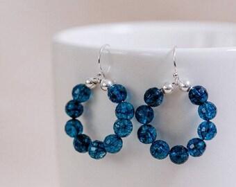 London blue quartz beads, hoop earrings, sterling silver components