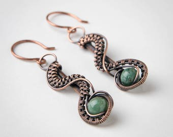 Copper River Earrings - African Jade - Wire Wrapped