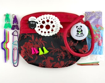 HiyaHiya Accessories Gift Set w/ RED Project Bag Sheep Gauge, Stitch Holders Stitch Markers Puppy Kitty Snips Cable Needles Point Protectors