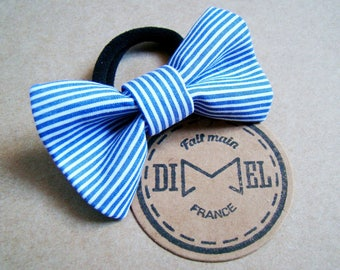 Bow tie on elastic woman blue/white striped girl hair