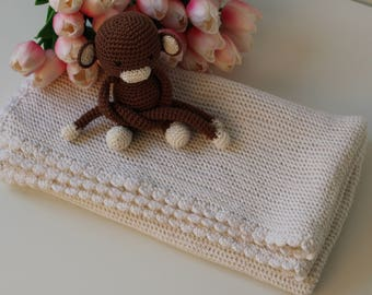 Merino wool baby blanket, merino wool blanket, knit baby blanket, baby girl blanket, baby boy blanket, christening blanket, knitted blanket