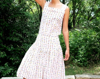 50s Fruit Print Dress,White Cotton Dress, Novelty Print Dress, Women White Dress, Vintage White Dress, Fruit Print Dress, White Casual Dress
