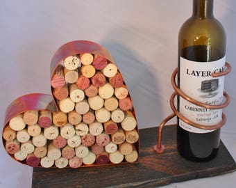 Wine Bottle and Cork Holder Copper w/Black Rustic wood base