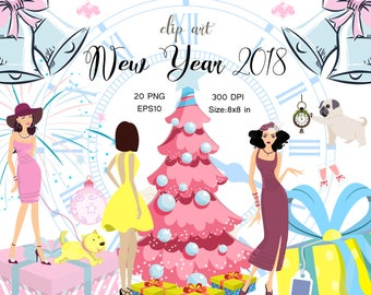 New Year 2018 Clip Art Birthday Party Clipart Winter Planner Stickers Invitation Fashion Girls Clipart Clock Clip Art Graphics Pink Blue