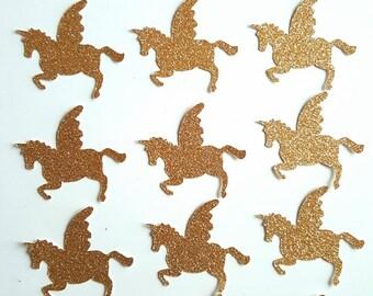 15 Golden glitter unicorns - decoration wedding christening birthday babyshower