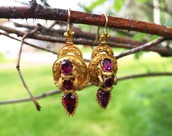 Gorgeous Victorian Garnet Earrings