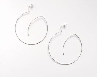 Wire fine dainty open hoop earrings