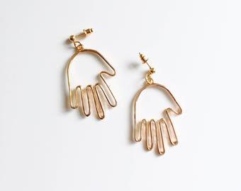 Hand dangle stud earrings