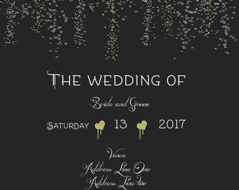 Falling Hearts Wedding Invite