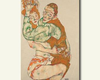 Printed On Textured Bamboo Art Paper - Lovemaking 1915 - Egon Schiele Print Schiele Poster Gift Idea Schiele Art Print bp