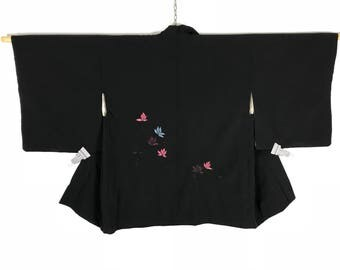D876 Vintage Japanese Haori Kimono Womens Silk Cardigan Jacket Black Embroidery