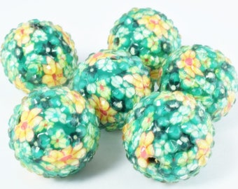 22mm Textured Floral Green Print Resin Wooden Round Beads, Wooden beads, Wholesale Bead, Basketball Wives Bead,Rhinestone Beads,Resin beads