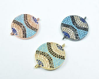 Round Micro Pave CZ Rhinestone Connector Beads High Quality Horizontal Hole 3 Colors