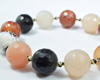 16.5mm Lace Earth tone Gemstone Agate,Stone,Beads,Lace,Agate,Mix Colored Round Beads, Stone Round Loose, Birthstone Beads, for Jewelry