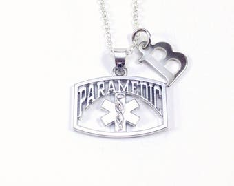 Paramedic Necklace, EMT Jewelry, Gift for Thank you present for him or her, Men or women, with letter Initial Ambulance attendant monogram