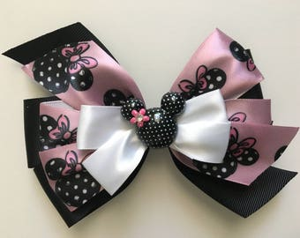 Minnie Mouse Bow Pink Minnie Bow Pink and Black Minnie Bow Disney Hair Bow Disney Bow Black Polka Dot Minnie Center Five-Inch Bow