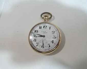 1924 Illinois Rail Road Pocket Watch Santa Fe on Dial and Movement Size 16 48mm Running