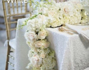 SALE!! White sequin tablecloth, table runner, or table overlay. Various colors available, wedding tablecloth, bridal, cake table, sequence