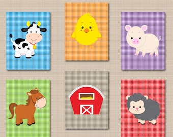 Farm Animals Nursery Wall Art,Farm Animals Nursery Decor,Barnyard Nursery Wall Art,Baby Barnyard Wall Art,Cow Sheep Chick-UNFRAMED 6 C528