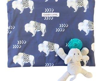Bennett's Bison Zippered Wet Bag  | Navy, White Tribal Baby Boy Travel Bag | Cloth Diaper Zip Pouch | Southwestern Waterproof Bag