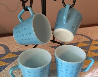 Vintage Pyrex Foulard Atomic Starburst Turquoise Blue 1410 coffee mug set of 4