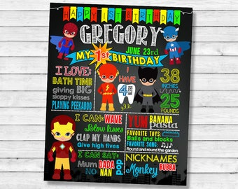 Printable Superhero Birthday chalkboard sign - 1st 2nd 3rd birthday chalk board poster (35)