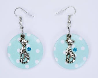 Earrings cat and buttons in turquoise with rhinestones in light blue pendant earrings wooden stud earrings on silver earrings