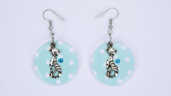 Earrings cat and buttons in turquoise with rhinestones in light blue pendant earrings wooden stud earrings on silver earrings