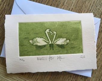 Hand Printed Swans Card, Handmade Individual Anniversary Card, Swans, Mates for Life, Single Anniversary Card, Individual Wedding card