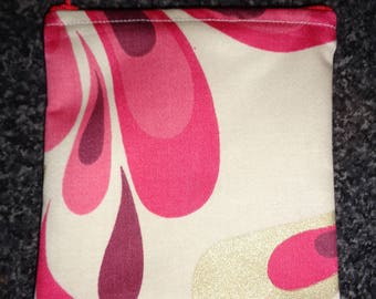 Red Swirl Top Zip Small  Poppins Waterproof Lined Zip Pouch - Sandwich bag - Eco - Snack Bag - Bikini Bag - Lunch Bag - Make Up Bag