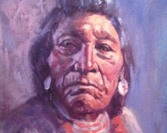 "Original Painting Portrait ""Blood Chief"" Native American Indian Oil on Board by Well Listed Montana Blackfoot Artist Gary Schildt c.1960s"