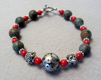 African Red Jasper and Coral Beaded Bracelet Gray and Red Stone Bracelet
