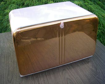 Vintage Pink and Copper Metal Bread Box, Metal Bread Box. Copper Bread box