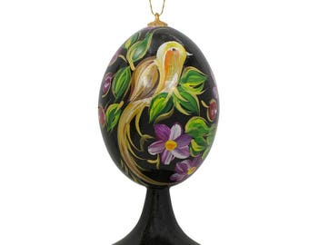 """3.5"""" Bird in Flower Garden Wooden Easter Egg Christmas Ornament"""