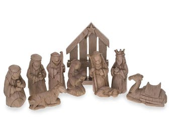 Set Of 9 Blank Unpainted Nativity Scene Set Figurines