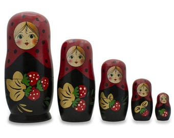 "6.5"" Set of 5 Red Strawberries on Black Russian Nesting Dolls"