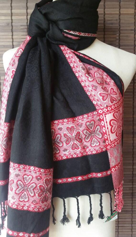 Beautiful Black Pashmina blend scarf silk blend shawls pashmina scarves bride's maid scarf pashmina silk stole Ethnic scarf women's scarf