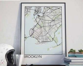Brooklyn, New York Minimalist City Map Print